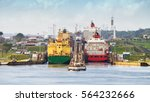 two large ship enters the... | Shutterstock . vector #564232666