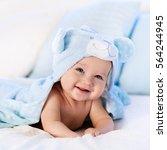 baby boy wearing diaper and... | Shutterstock . vector #564244945