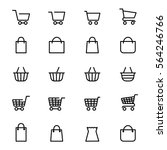 shopping baskets and store bags ... | Shutterstock .eps vector #564246766