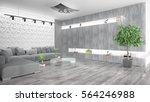 modern bright interior . 3d... | Shutterstock . vector #564246988