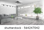 modern bright interior . 3d... | Shutterstock . vector #564247042