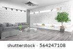 modern bright interior . 3d... | Shutterstock . vector #564247108