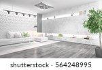 modern bright interior . 3d... | Shutterstock . vector #564248995