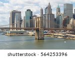 lower manhattan with brooklyn... | Shutterstock . vector #564253396