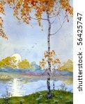 Watercolor Landscape. Autumn...