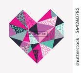geometric heart. print design. | Shutterstock .eps vector #564260782