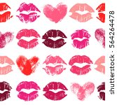 seamless pattern with lipstick... | Shutterstock . vector #564264478