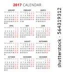 2017 calendar on white... | Shutterstock .eps vector #564319312