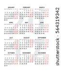 2017 calendar on white... | Shutterstock .eps vector #564319342