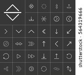 thin line arrow icon set for...