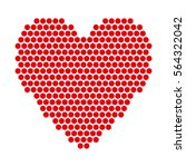 red hearts with halftone effect ... | Shutterstock .eps vector #564322042