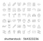 set of simple outline party... | Shutterstock .eps vector #564323236
