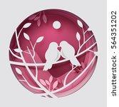 paper art carve to couple birds ... | Shutterstock .eps vector #564351202