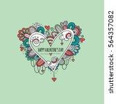 happy valentine's day hand... | Shutterstock .eps vector #564357082