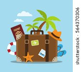 composition with a suitcase and ... | Shutterstock .eps vector #564370306