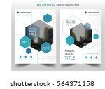 blue hexagon annual report...   Shutterstock .eps vector #564371158