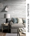 modern bright interior . 3d... | Shutterstock . vector #564373108