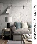 modern bright interior . 3d... | Shutterstock . vector #564373192