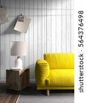 modern bright interior . 3d... | Shutterstock . vector #564376498