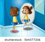 happy girl looking at the... | Shutterstock .eps vector #564377206