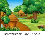 two wooden cabins in the forest ... | Shutterstock .eps vector #564377236