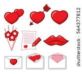 saint valentine's day icon set. ... | Shutterstock .eps vector #564377812
