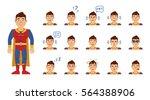 set of superhero emoticons.... | Shutterstock .eps vector #564388906