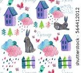 watercolor hand drawing pattern ... | Shutterstock . vector #564412012