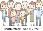happy family no.01  family of 9 ... | Shutterstock .eps vector #564412792