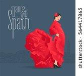flamenco dancer in red dress in ... | Shutterstock .eps vector #564417865