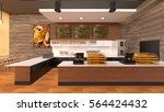 Stock photo  d cg rendering of a cafeteria 564424432