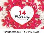 pink happy valentines day... | Shutterstock .eps vector #564424636