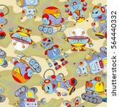 seamless pattern with funny... | Shutterstock .eps vector #564440332