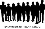 crowd of people silhouettes ... | Shutterstock .eps vector #564443572