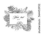 tropical leaves rectangular...   Shutterstock .eps vector #564453952
