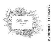 peony bloom rectangular frame   Shutterstock .eps vector #564453982