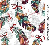 colored stylized feathers... | Shutterstock .eps vector #564460135