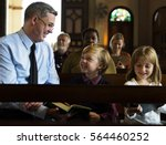 church people believe faith... | Shutterstock . vector #564460252