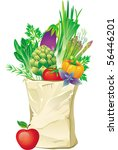shopping bag full of vegetables | Shutterstock .eps vector #56446201