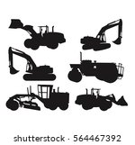 construction vehicles silhouette | Shutterstock .eps vector #564467392