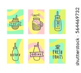 set of beautiful smoothie cards.... | Shutterstock .eps vector #564469732