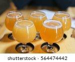 craft beer flight of five hazy...   Shutterstock . vector #564474442