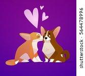 couple of kissing corgi dogs or ...   Shutterstock .eps vector #564478996