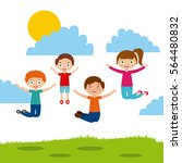 cute kids jumping over sunny... | Shutterstock .eps vector #564480832