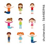 icons set of cute happy kids... | Shutterstock .eps vector #564480946