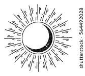 grunge crescent moon sunburst | Shutterstock .eps vector #564492028
