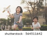 cute asian children playing... | Shutterstock . vector #564511642