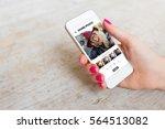 woman using photo sharing app... | Shutterstock . vector #564513082
