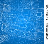 vector blueprint with city plan ... | Shutterstock .eps vector #564513736