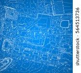 vector blueprint with city plan ... | Shutterstock .eps vector #564513736